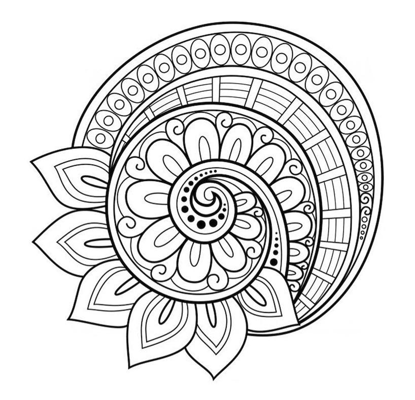 Dibujo Mandala Flor Caracol