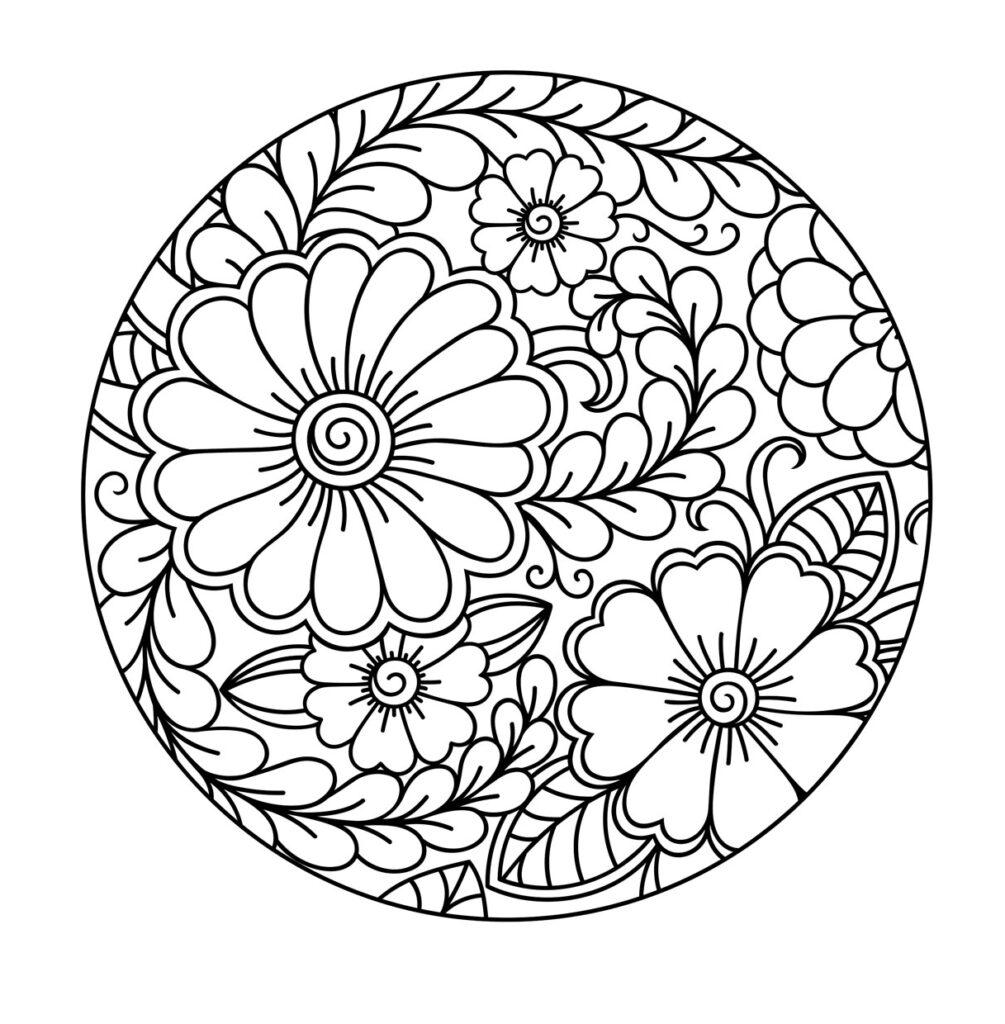 Dibujo Mandala Flor Circular