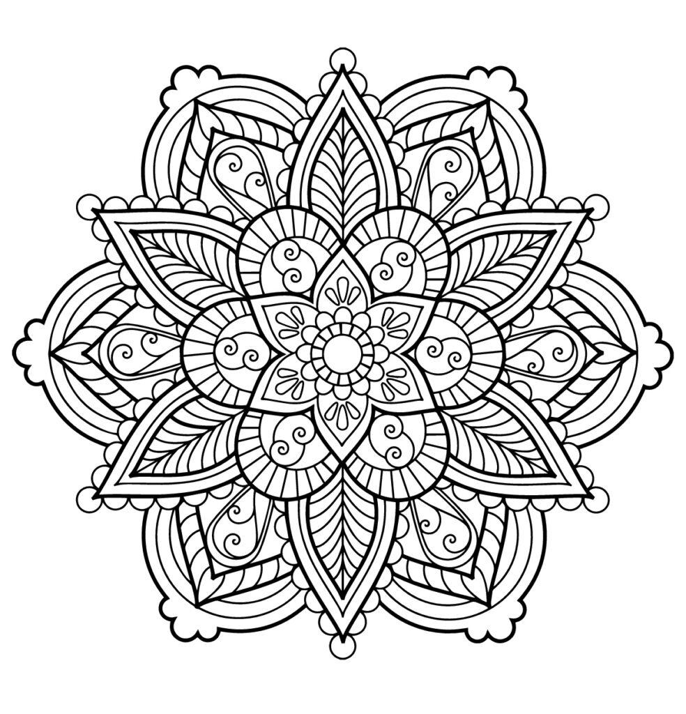 Dibujo Mandala Flor Colorear