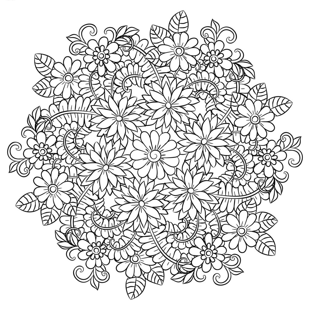 Dibujo Mandala Flor Conjunto