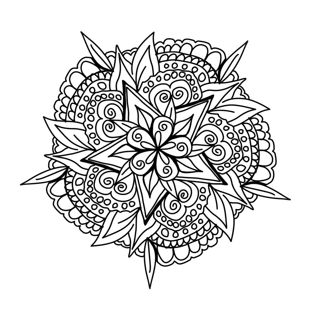 Dibujo Mandala Flor Hojas