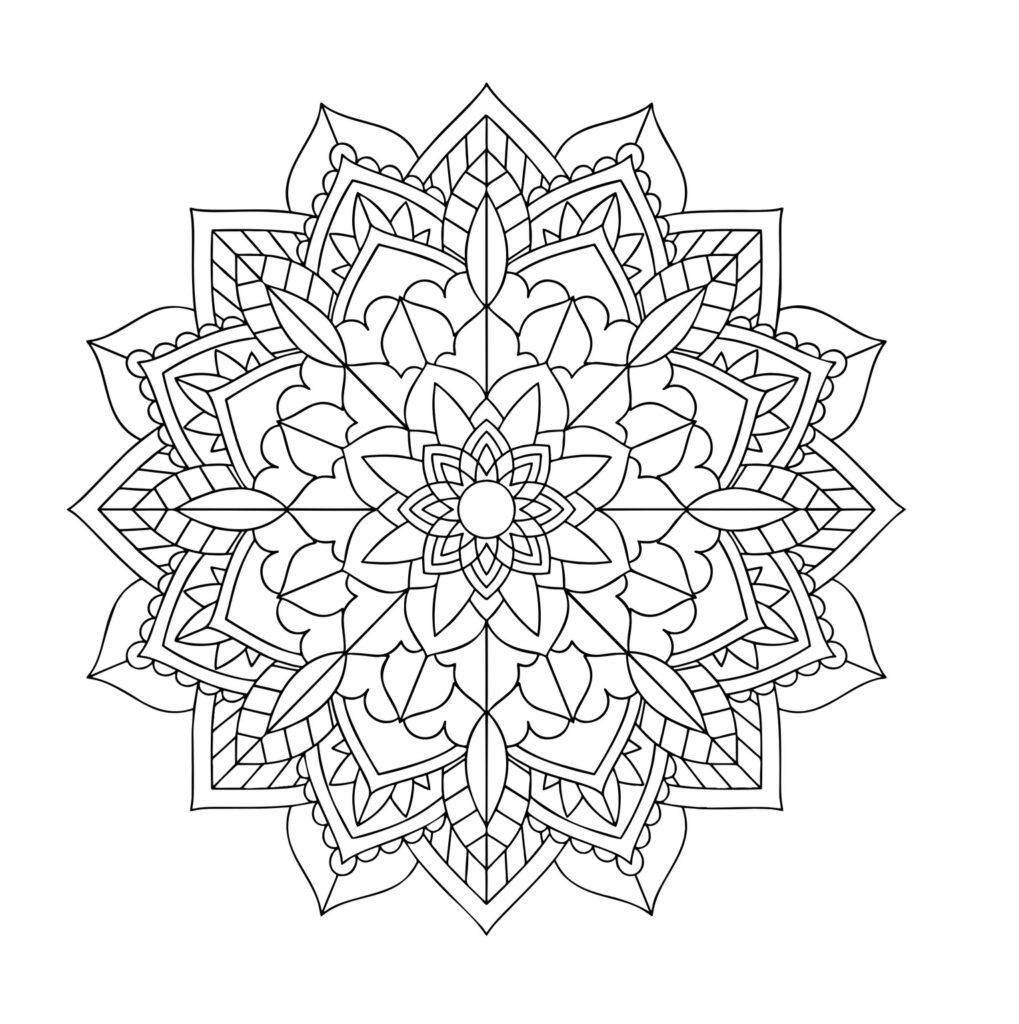 Dibujo Mandala Flor Recto