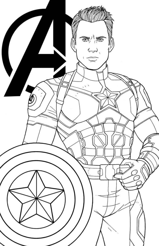 Capitan America Colorear Dibujo