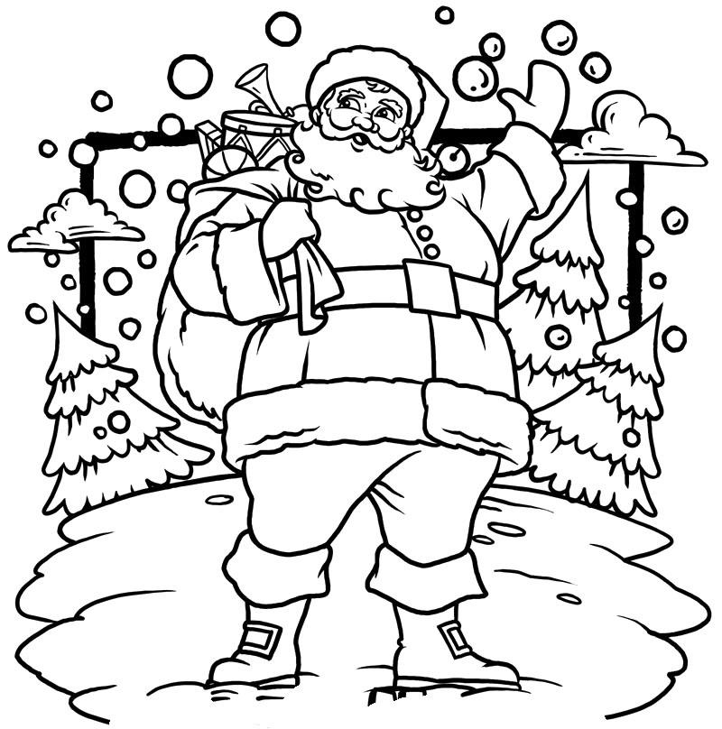 Colorear Santa Con Arbol Navidad
