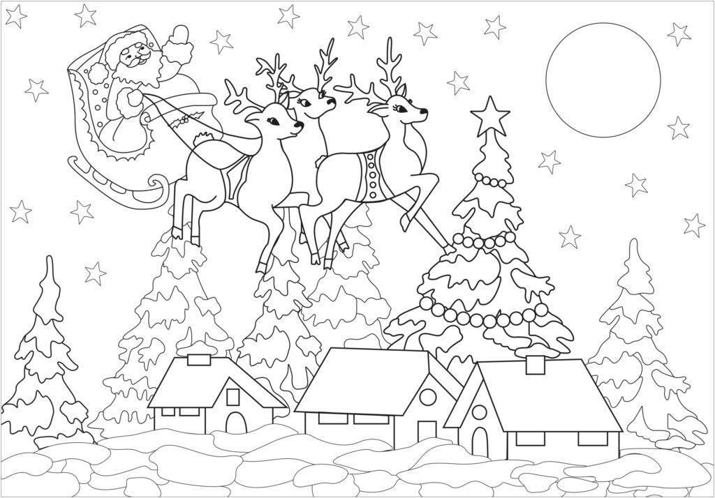 Santa Claus Trineo Colorear
